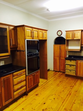 Lovely wood cupboards and floor